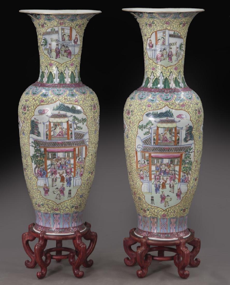 (2) Monumental Chinese urns,