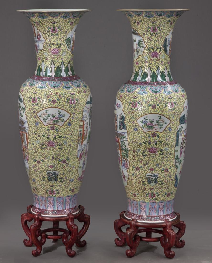 (2) Monumental Chinese urns, - 3