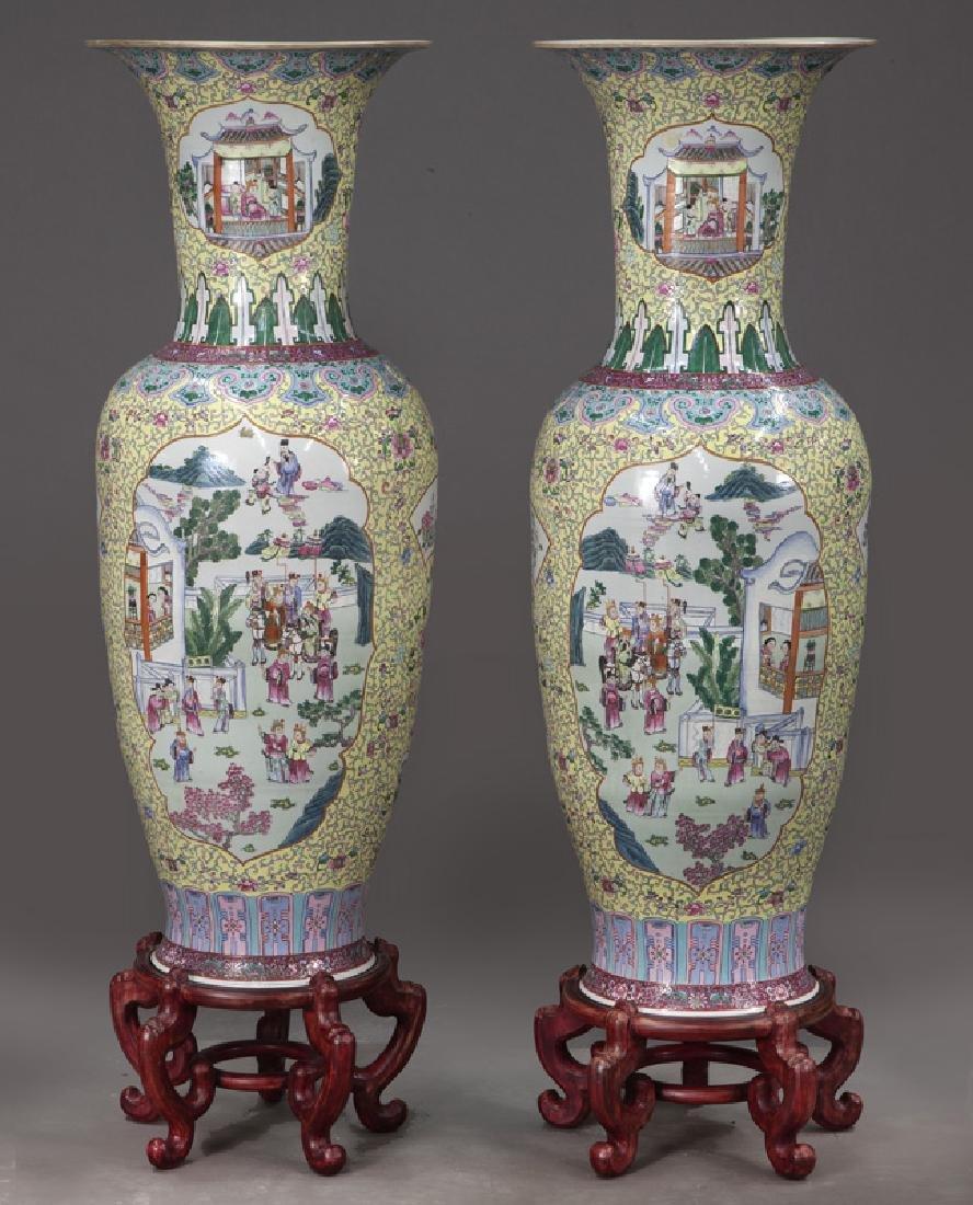 (2) Monumental Chinese urns, - 4