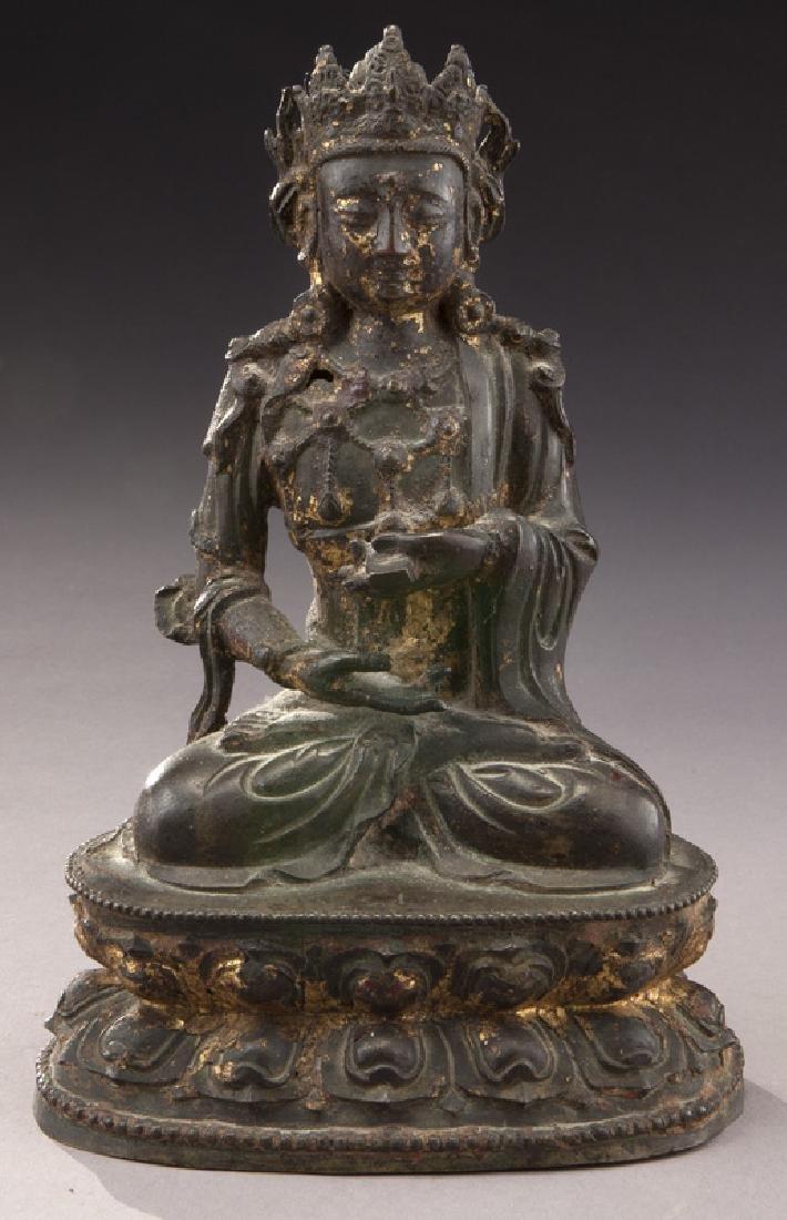 Chinese Ming gold lacquer bronze Buddha