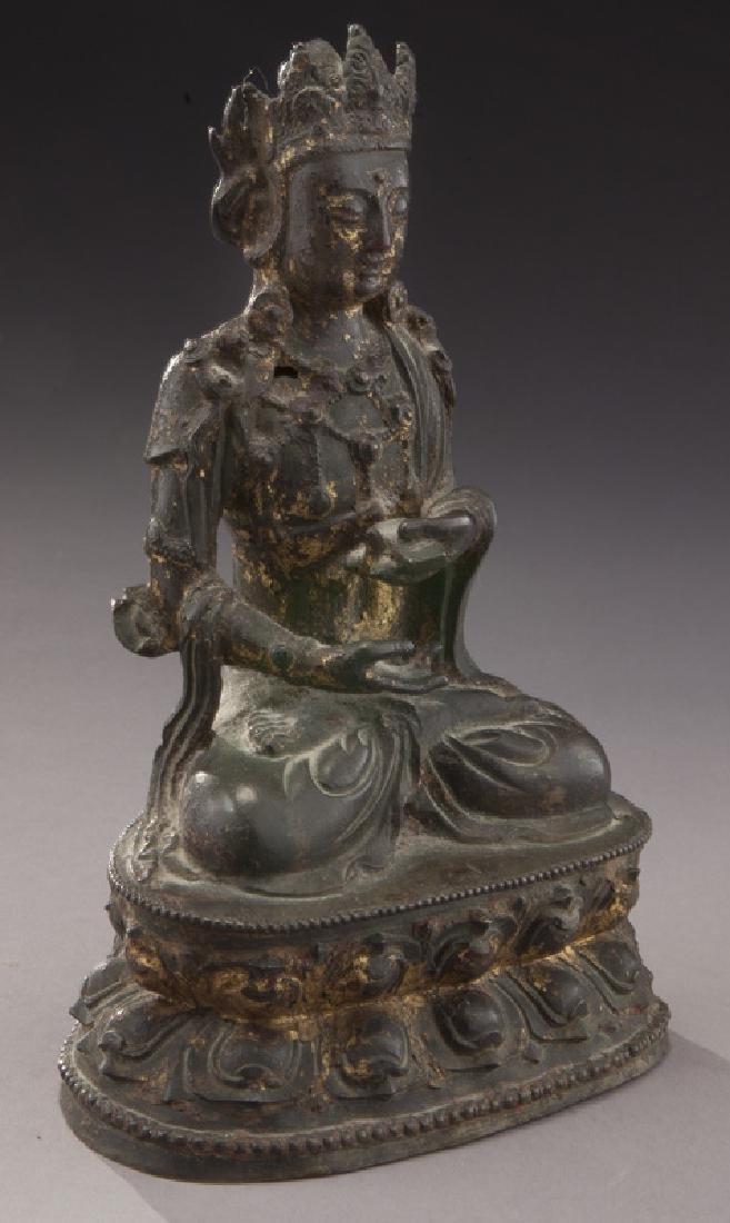 Chinese Ming gold lacquer bronze Buddha - 2
