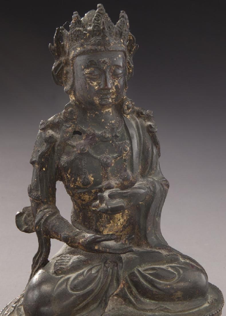 Chinese Ming gold lacquer bronze Buddha - 6