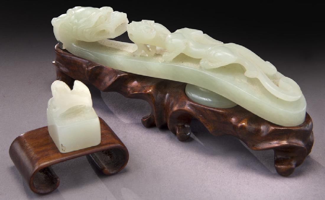 Chinese Qing carved dragon belt buckle - 2
