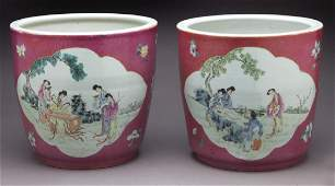 Pr. Chinese Qing famille rose porcelain planters,
