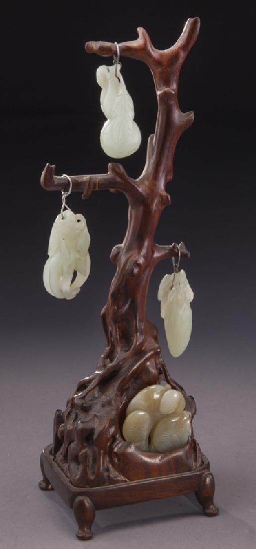 Chinese Qing carved hardwood tree
