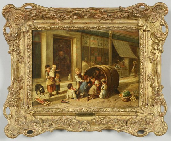 "3: Charles Hunt oil painting on canvas, ""Children at"
