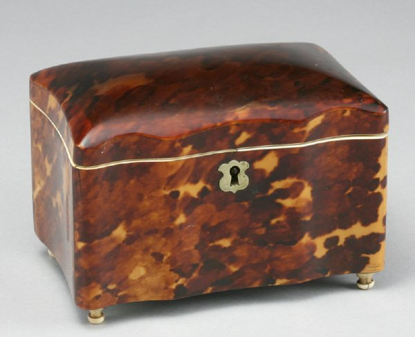 5: 19th C. faux tortoise shell single tea caddy