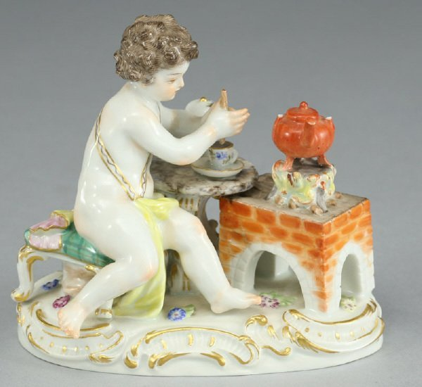 9: A Meissen porcelain figure modeled as a putto