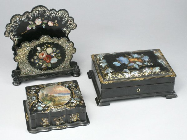 12: (3) Victorian black Japanned papier mache items