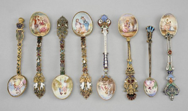 17: (8) French enamel spoons with painted scenes