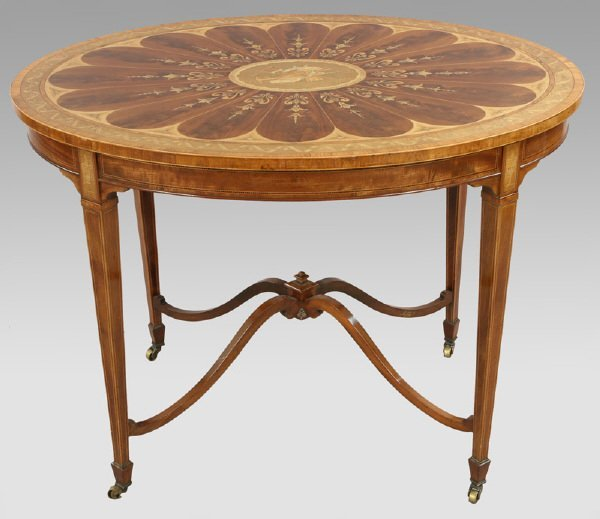 19: Edwardian center table with satinwood inlay