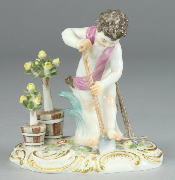 23: A Meissen porcelain figure modeled as a putto