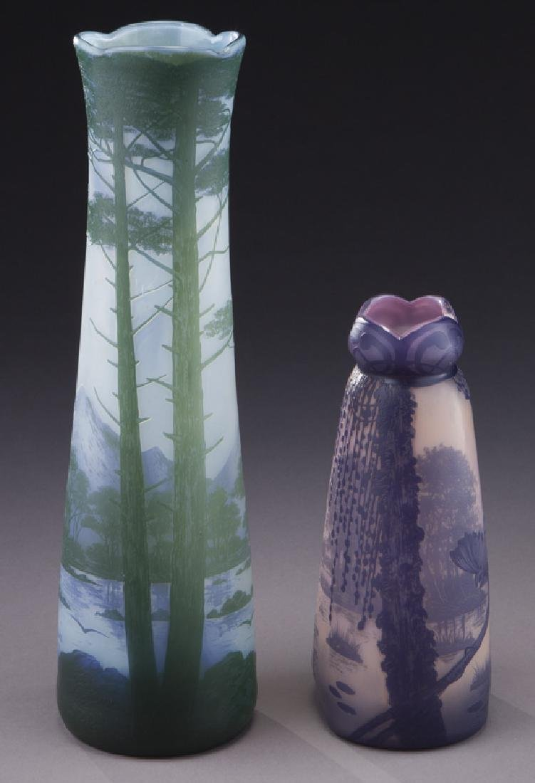 (2) Devez French cameo glass vases,