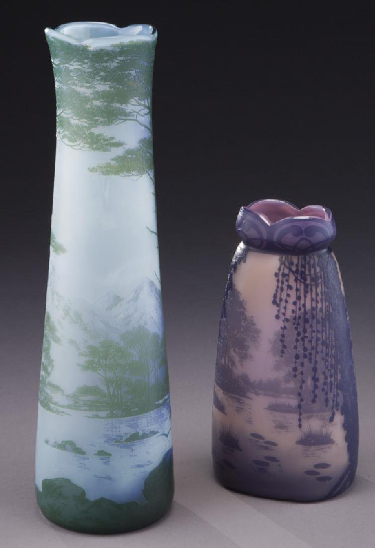 (2) Devez French cameo glass vases, - 2