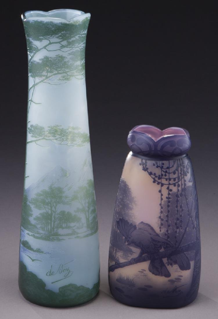 (2) Devez French cameo glass vases, - 3