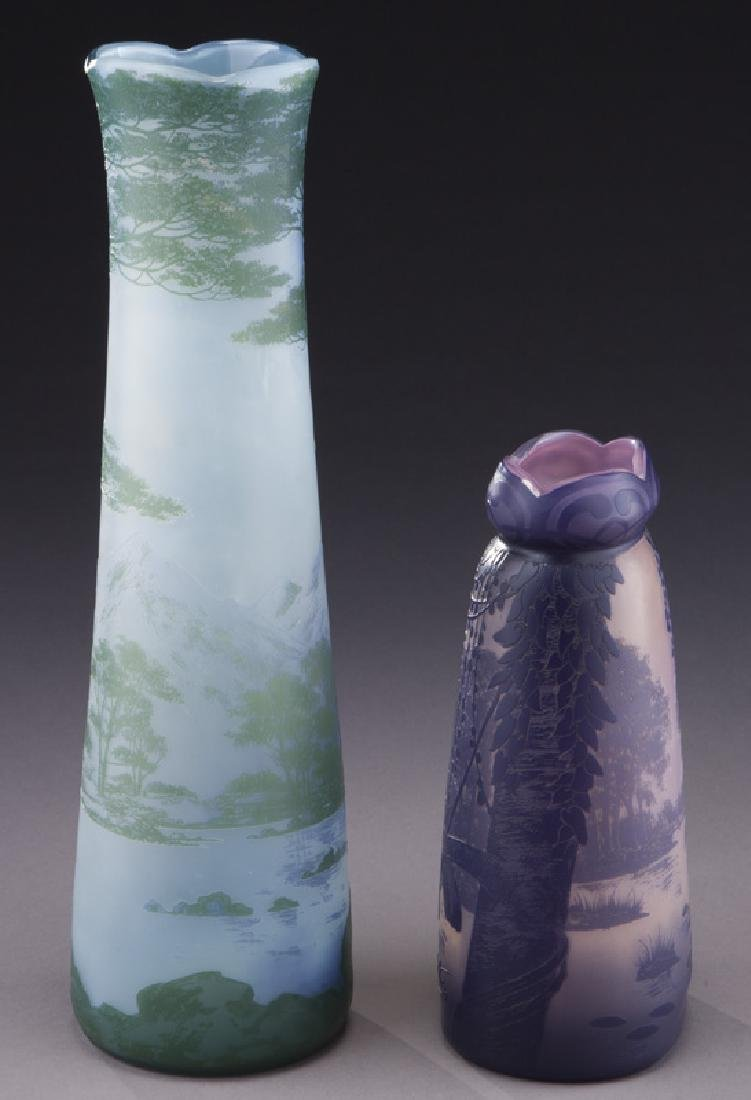 (2) Devez French cameo glass vases, - 4
