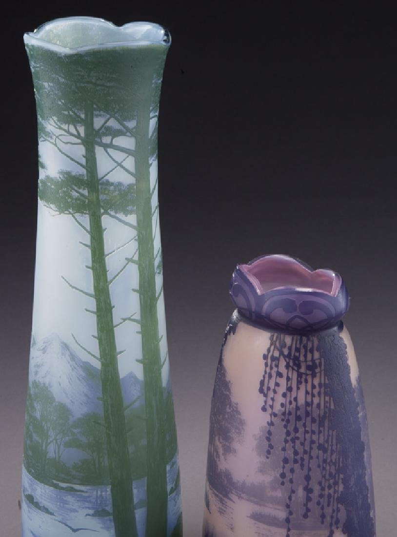 (2) Devez French cameo glass vases, - 5