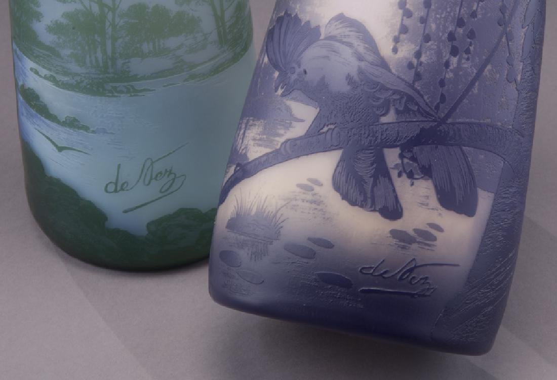 (2) Devez French cameo glass vases, - 6