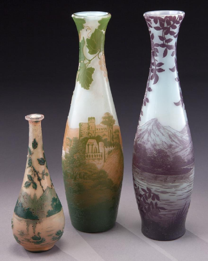 (3) Devez French cameo glass vases,