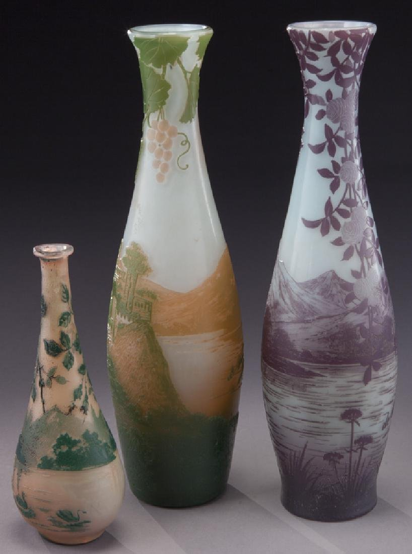 (3) Devez French cameo glass vases, - 2