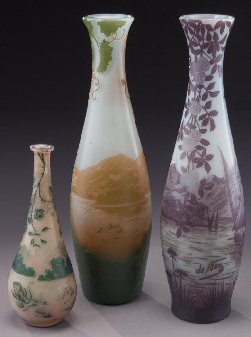 (3) Devez French cameo glass vases, - 3