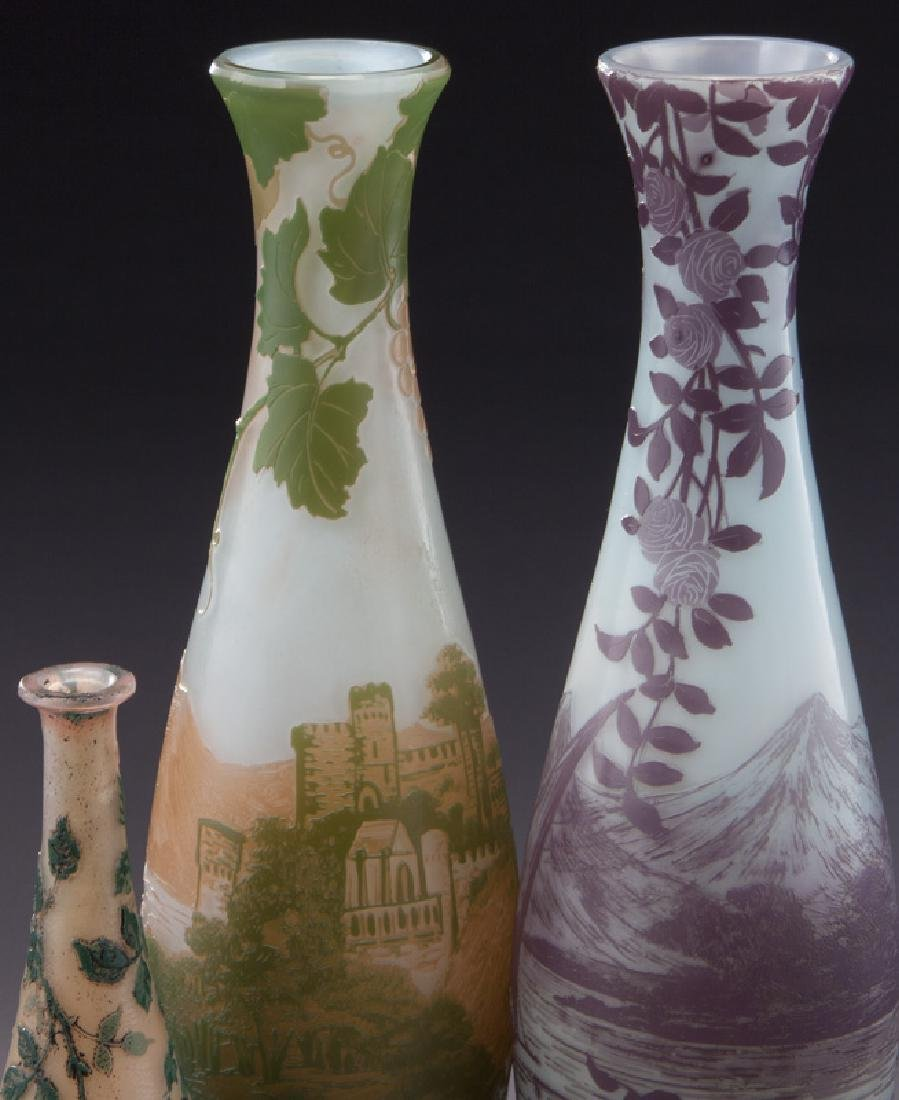 (3) Devez French cameo glass vases, - 4