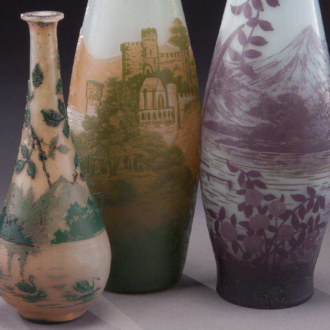 (3) Devez French cameo glass vases, - 5