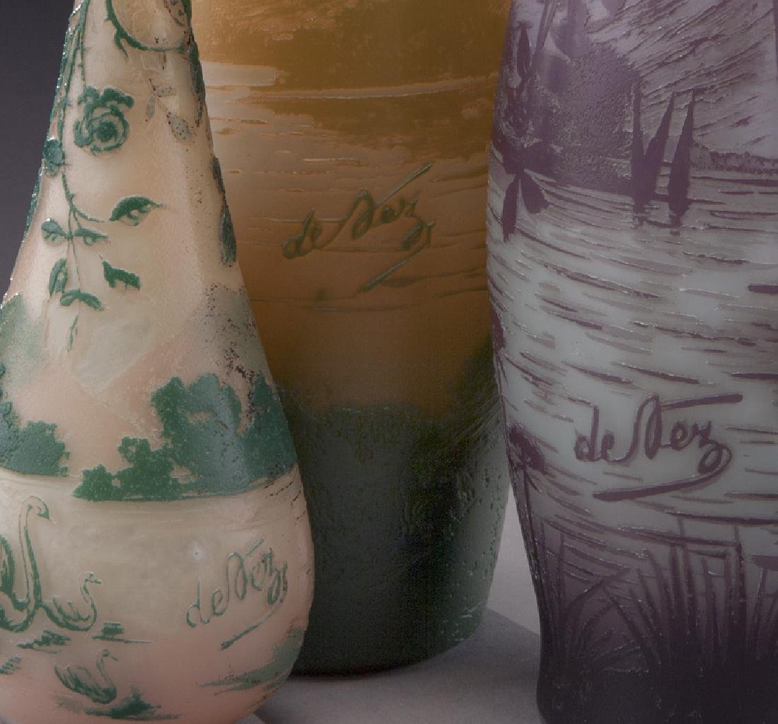 (3) Devez French cameo glass vases, - 6
