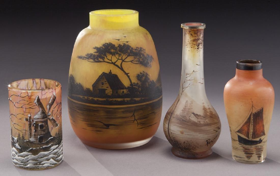 (4) French enameled glass vases