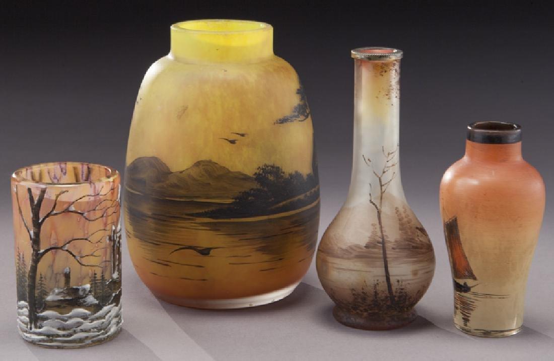 (4) French enameled glass vases - 2