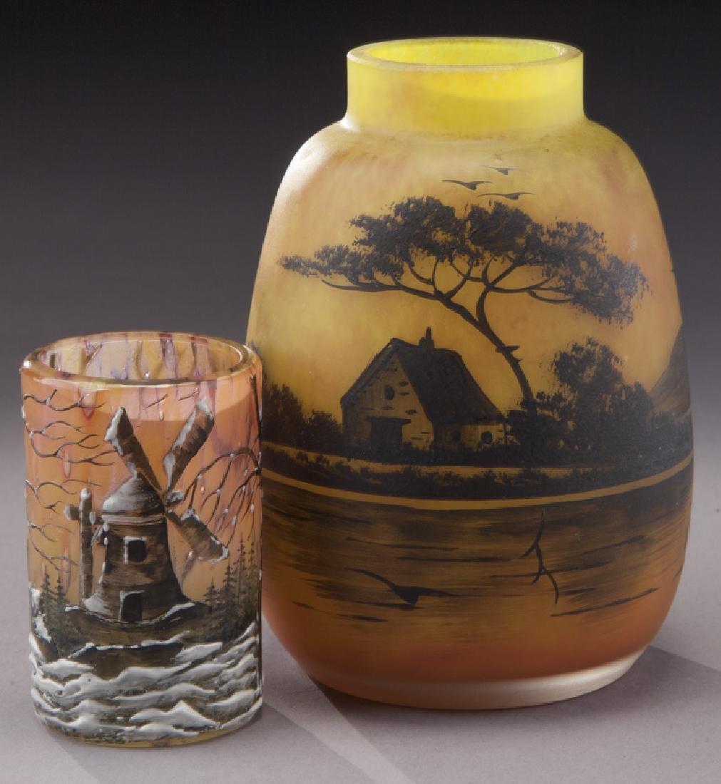 (4) French enameled glass vases - 3
