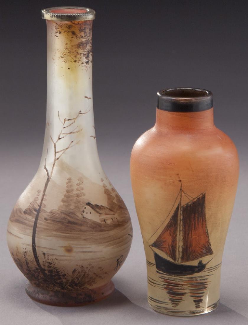 (4) French enameled glass vases - 4