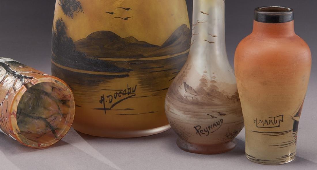 (4) French enameled glass vases - 5