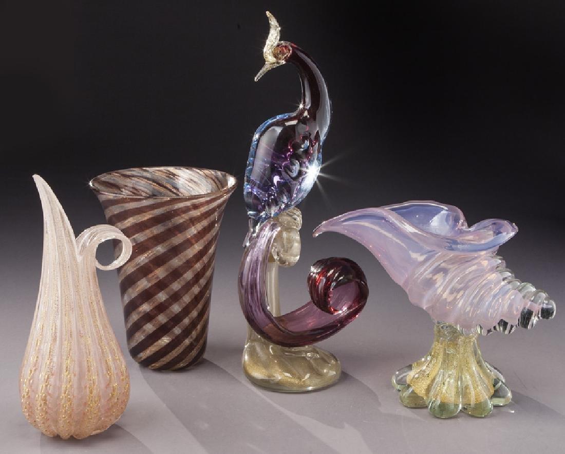 (4) Murano art glass items,