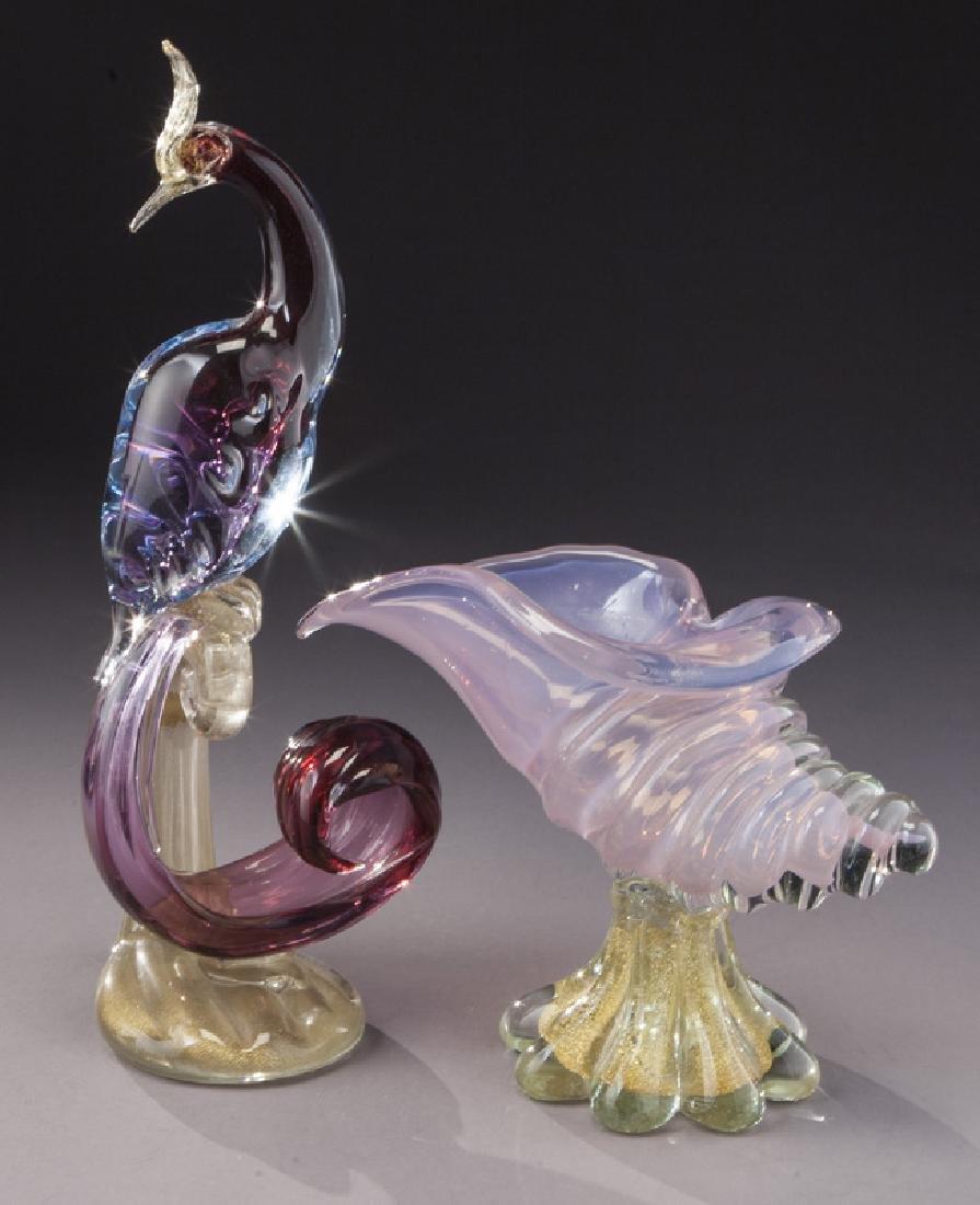 (4) Murano art glass items, - 2