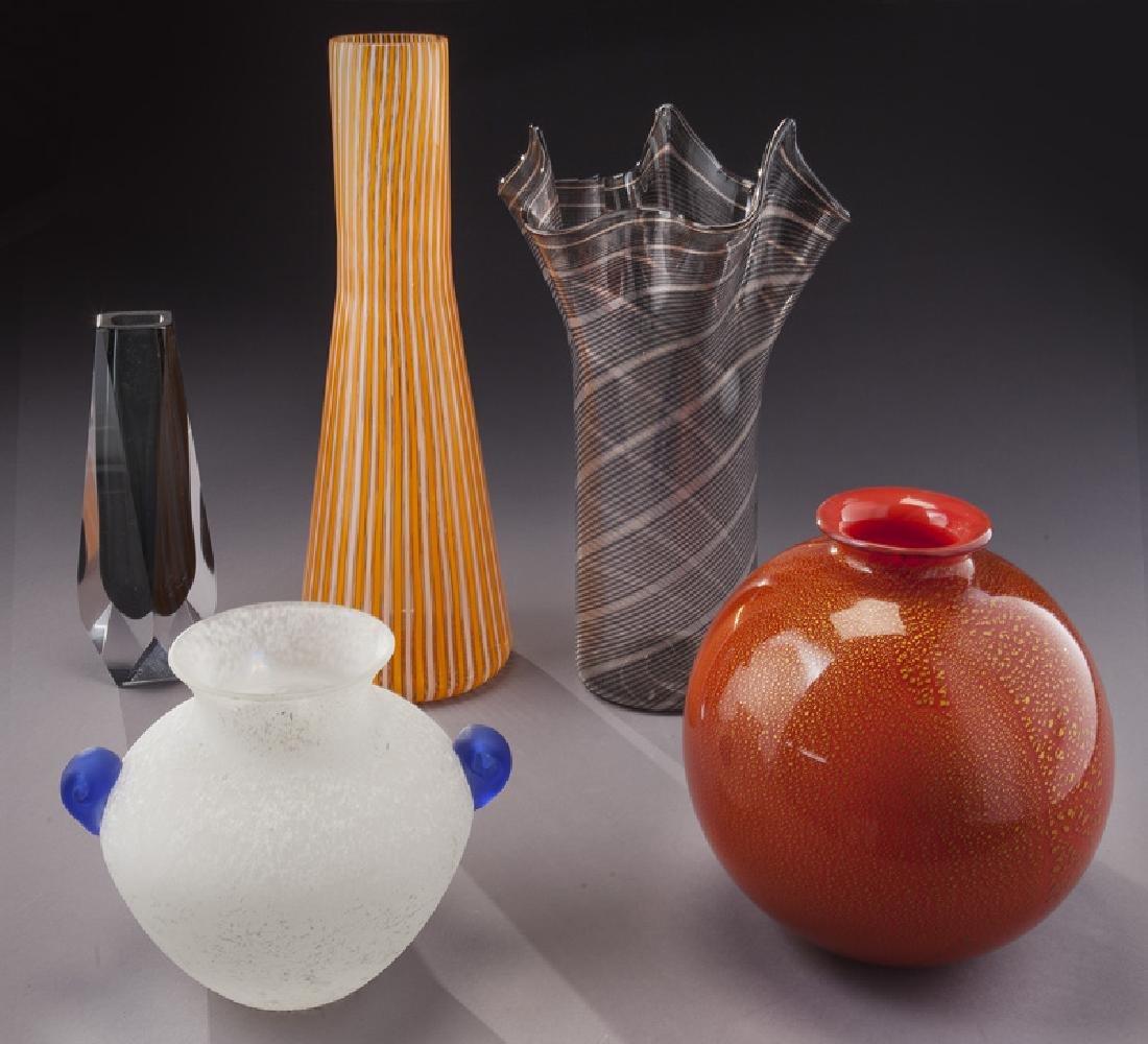 (5) Murano art glass items,
