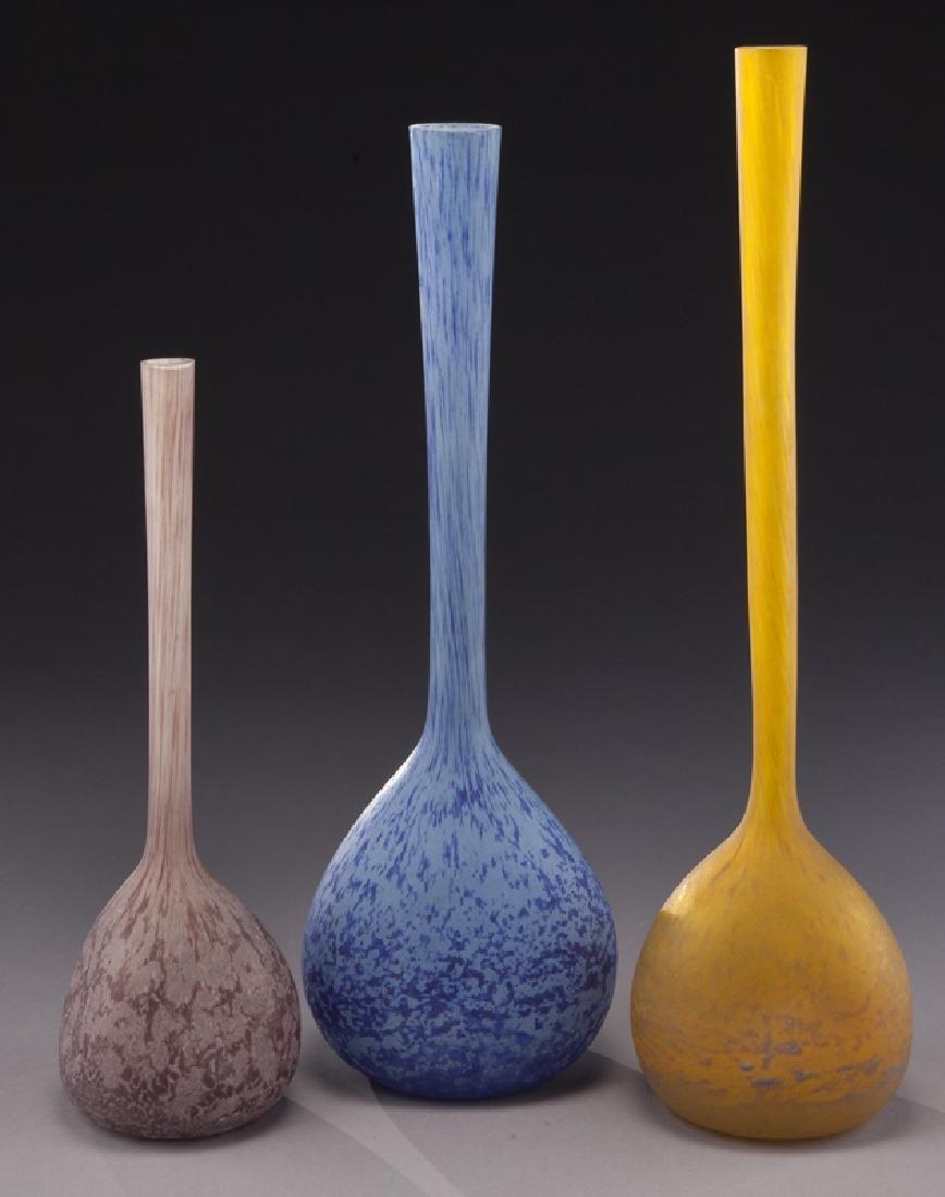(3) French modeled glass vases,