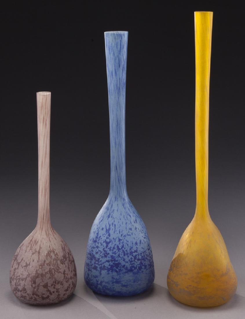 (3) French modeled glass vases, - 2