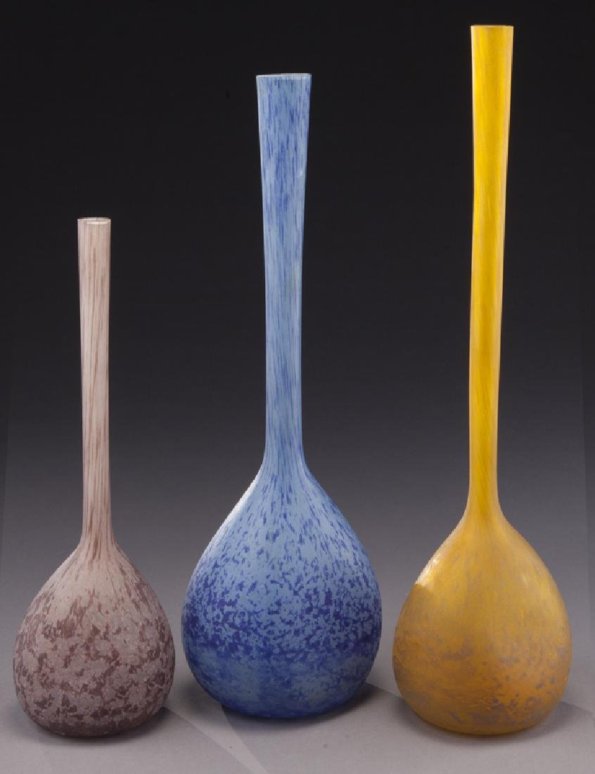 (3) French modeled glass vases, - 3