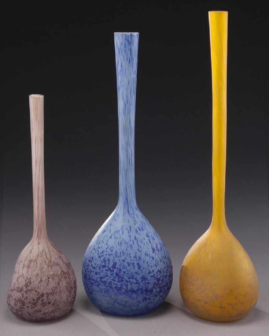 (3) French modeled glass vases, - 4