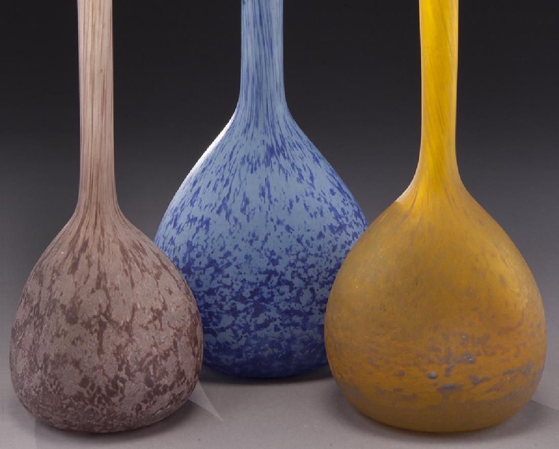 (3) French modeled glass vases, - 5