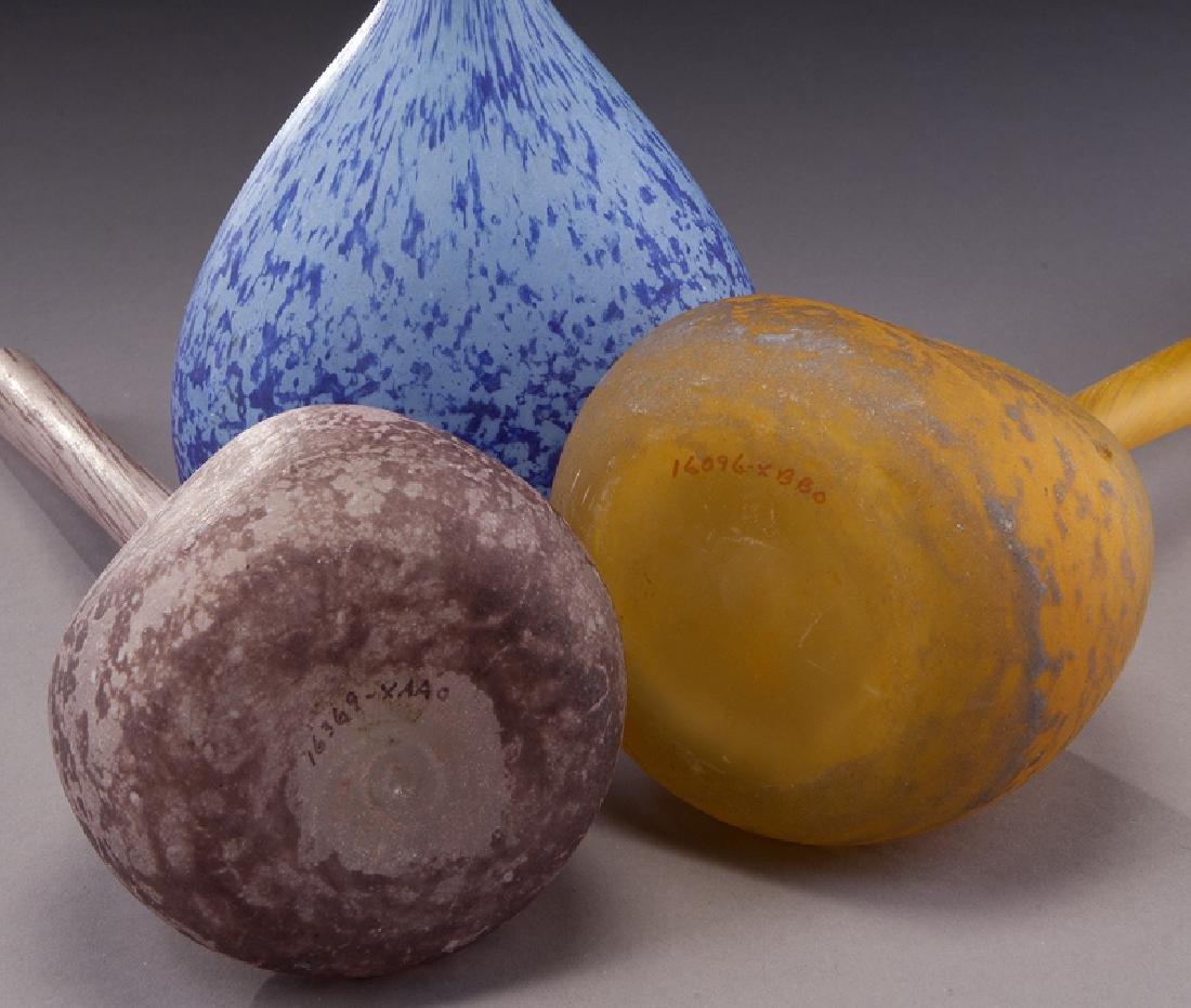(3) French modeled glass vases, - 6