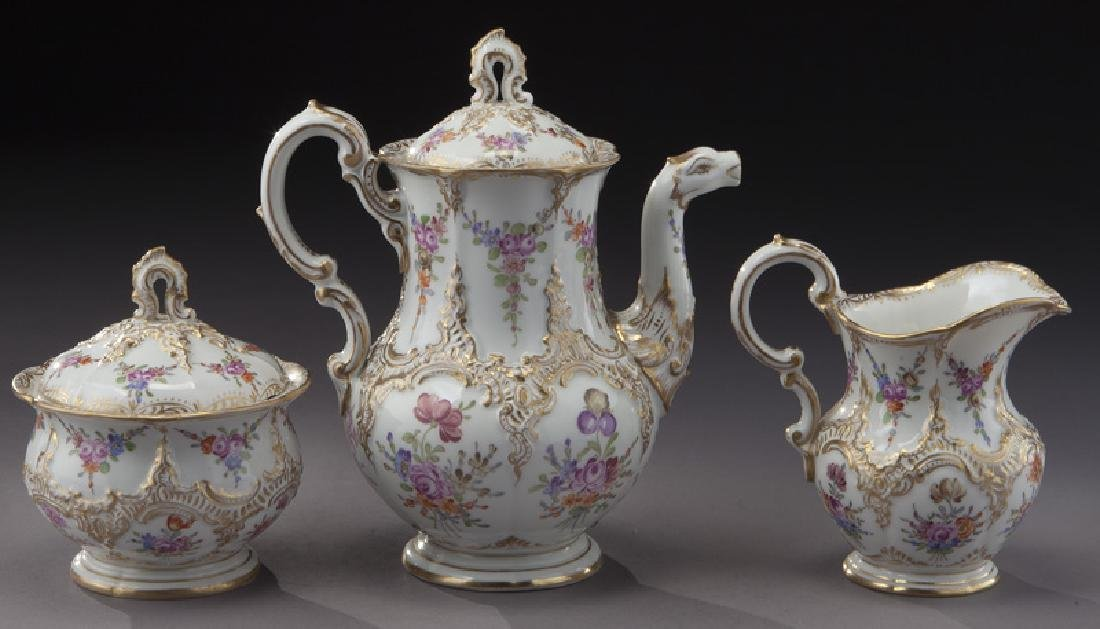 (3) Pc. Meissen porcelain coffee service, - 4