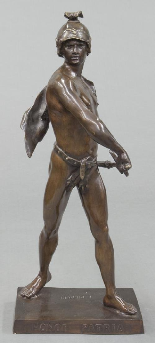 19th C. French patinated bronze figure of warrior. - 2