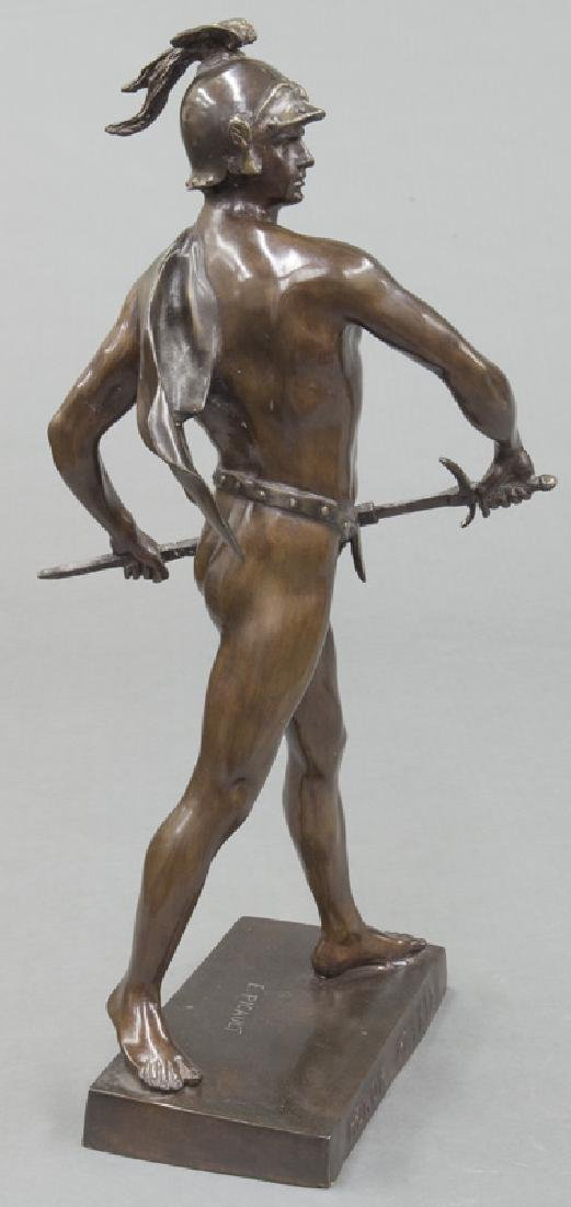 19th C. French patinated bronze figure of warrior. - 3