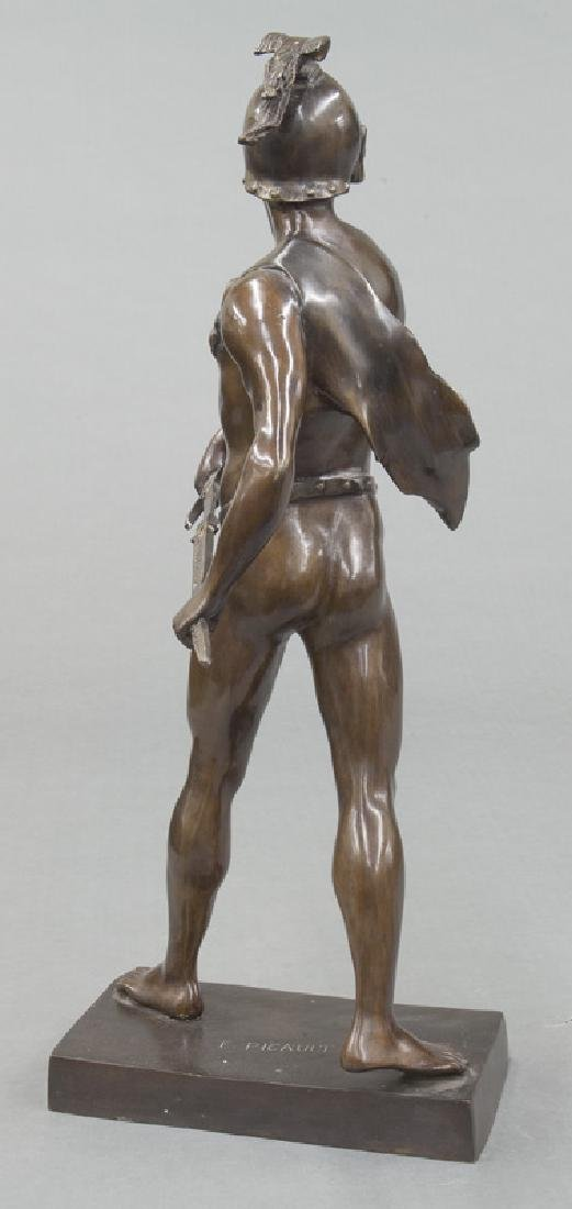 19th C. French patinated bronze figure of warrior. - 4