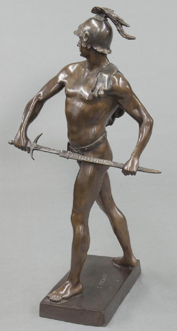 19th C. French patinated bronze figure of warrior. - 5