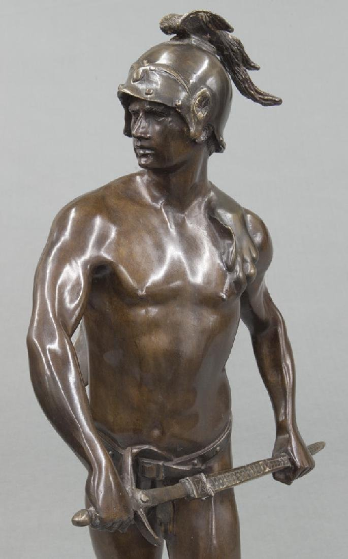 19th C. French patinated bronze figure of warrior. - 6