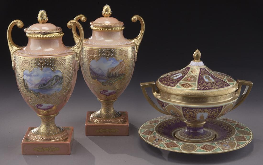 (3) Royal Vienna covered urns,