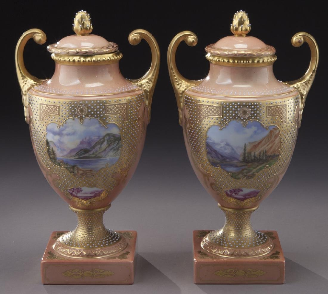 (3) Royal Vienna covered urns, - 2